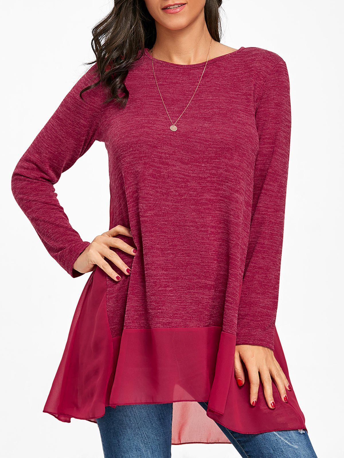 Heather Chiffon Trimmed Long Sleeve Top - BURGUNDY S