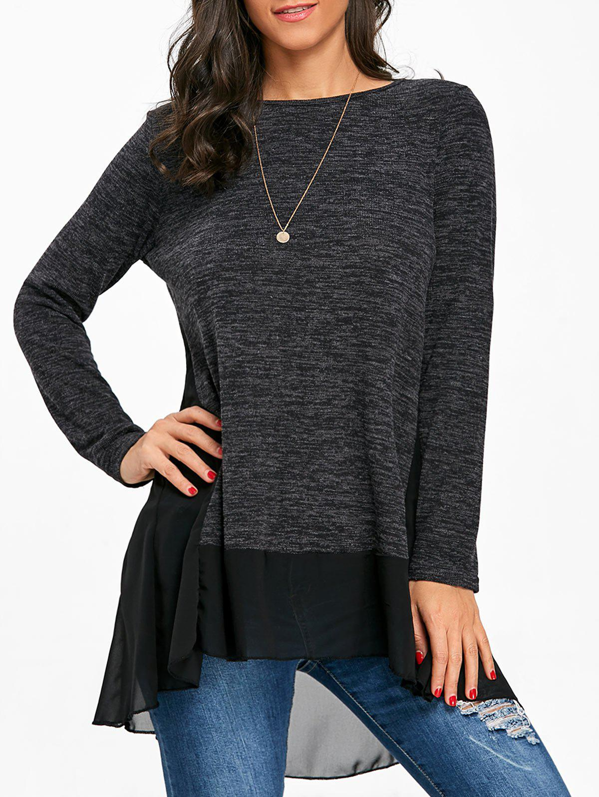 Heather Chiffon Trimmed Long Sleeve Top - BLACK S
