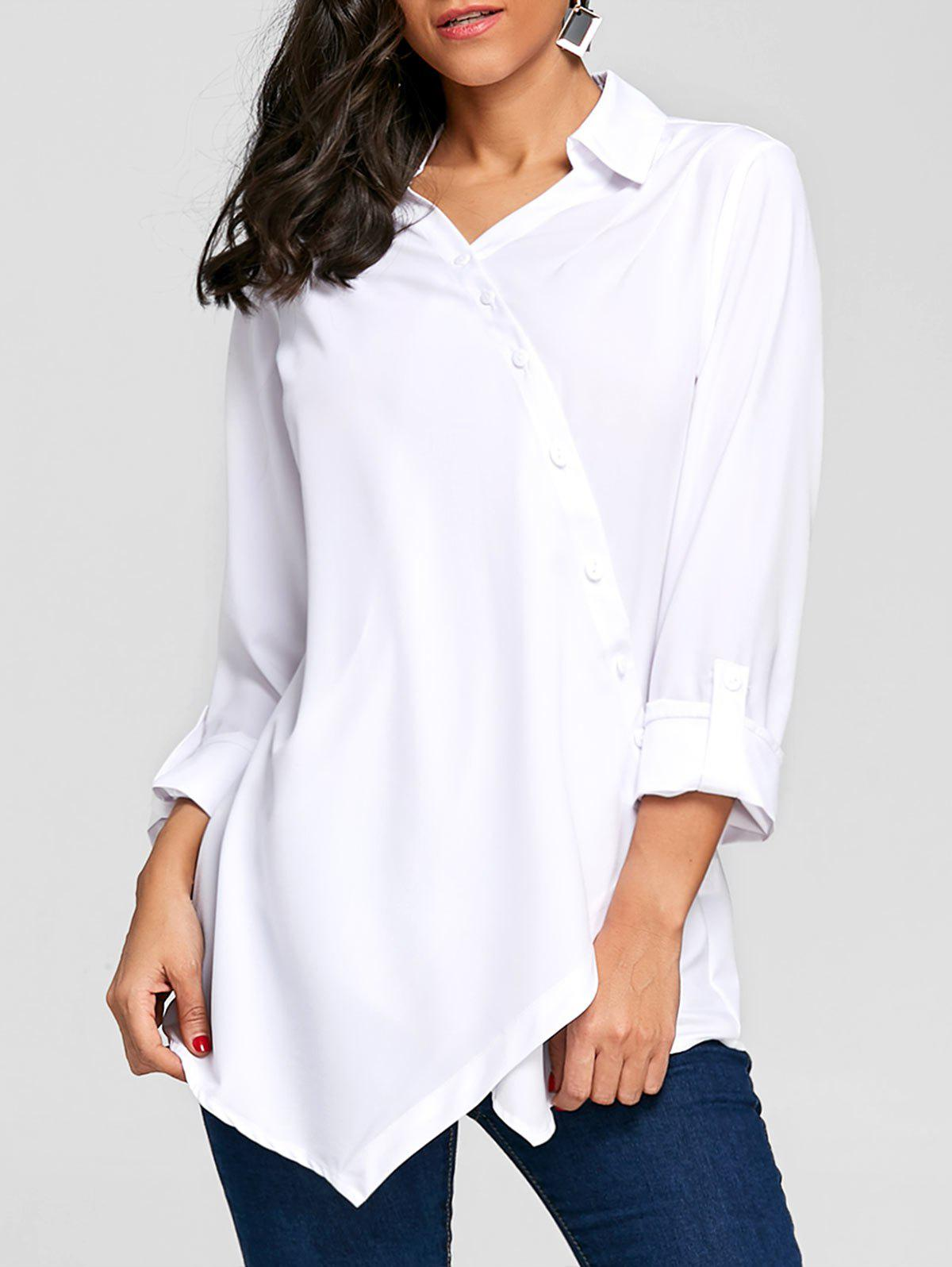 Crossover Button Up Asymmetric Blouse - WHITE L