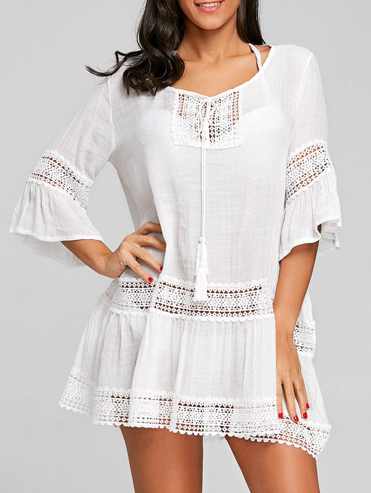 Flare Sleeve Crochet Trimmed Cover Up Dress - WHITE ONE SIZE