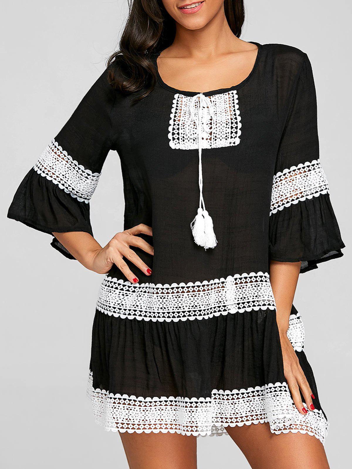 Flare Sleeve Crochet Trimmed Cover Up Dress - BLACK ONE SIZE