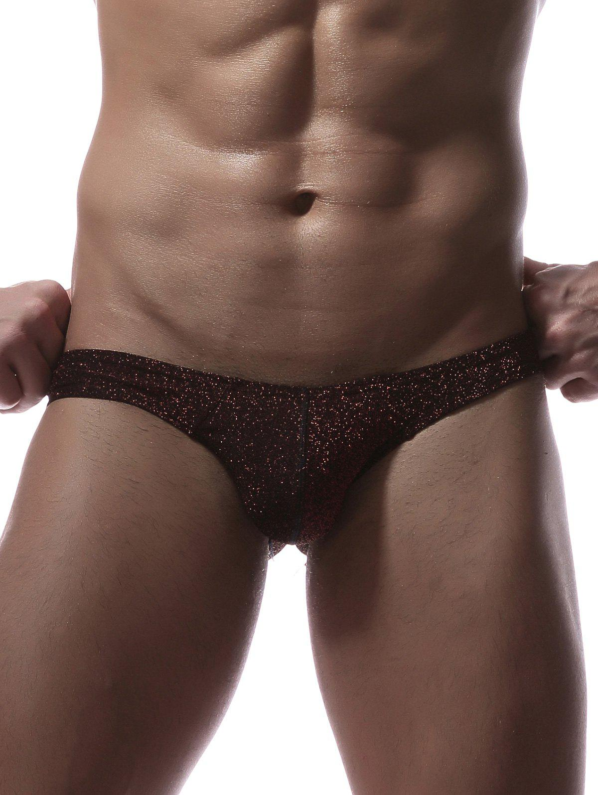 Stretchy Twinkling U Pouch Briefs - WINE RED XL