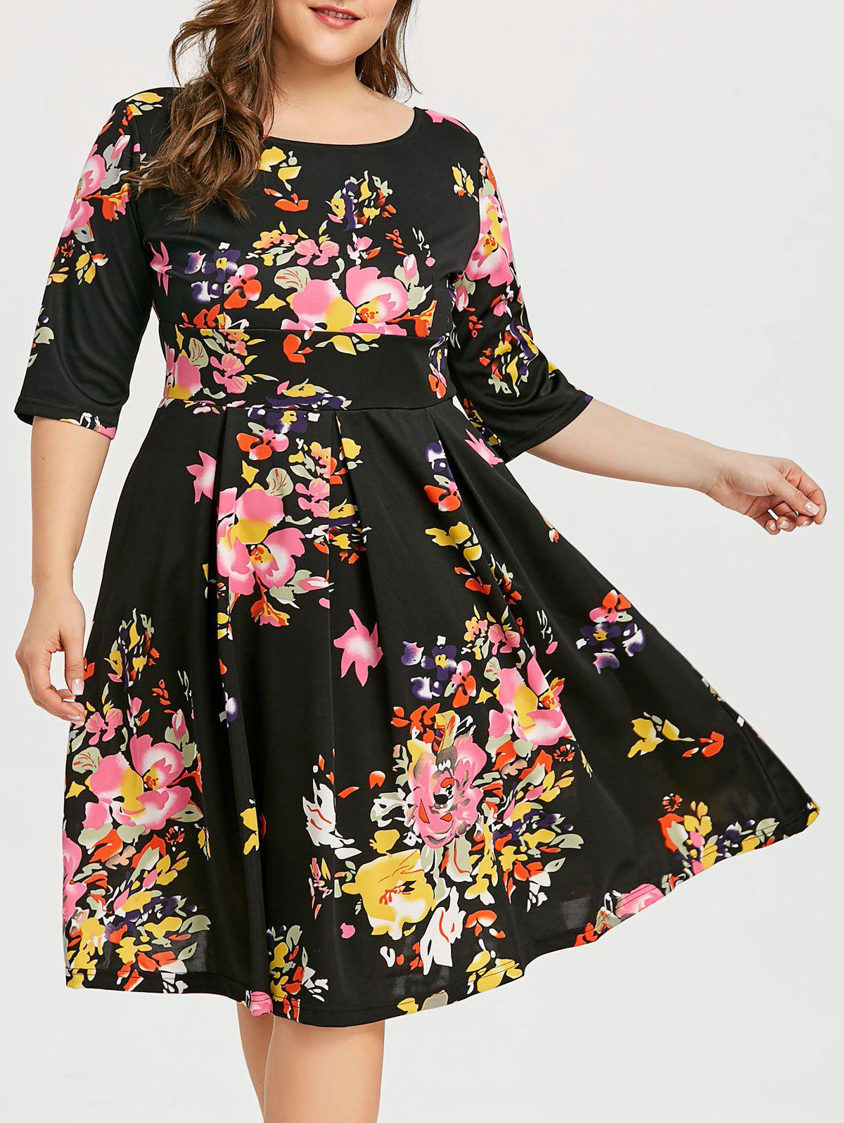 Plus Size Knee Length Pin Up Dress