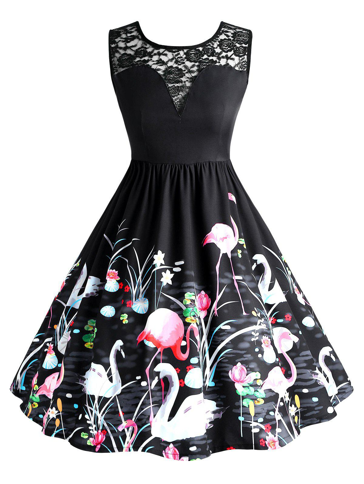 Plus Size Lace Swan Painting Party Dress - BLACK 2XL