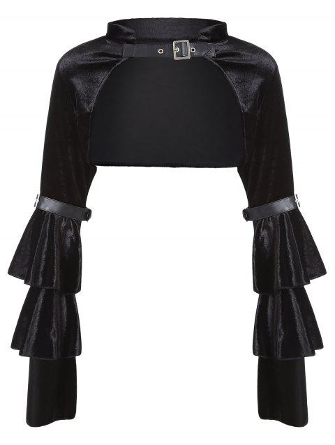 Velvet Flare Sleeve Backless Costume Top - BLACK L
