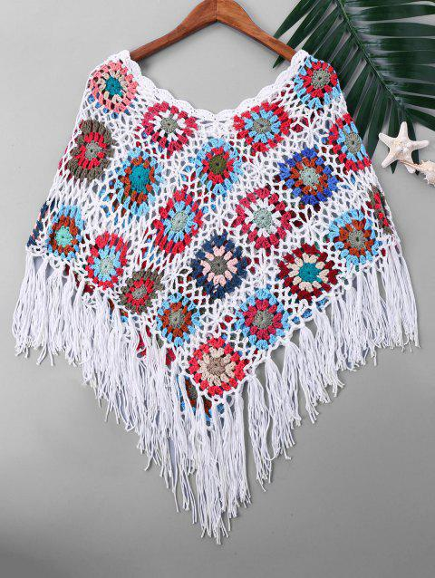 Knit Tassel Cape Cover Up - COLORMIX ONE SIZE