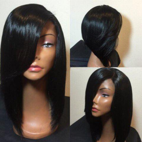 Medium Side Parting Straight Bob Synthetic Fiber Wig - BLACK