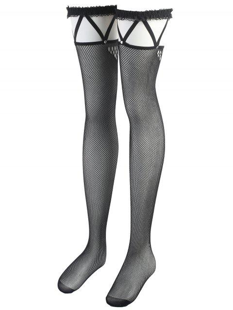 Overknee résille Sheer Lace Trim Bas - Noir ONE SIZE
