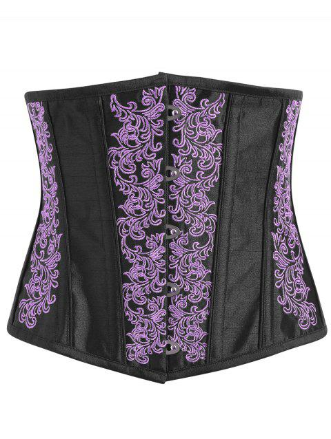 Embroidery Lace-up Steel Boned Corset - PURPLE XL