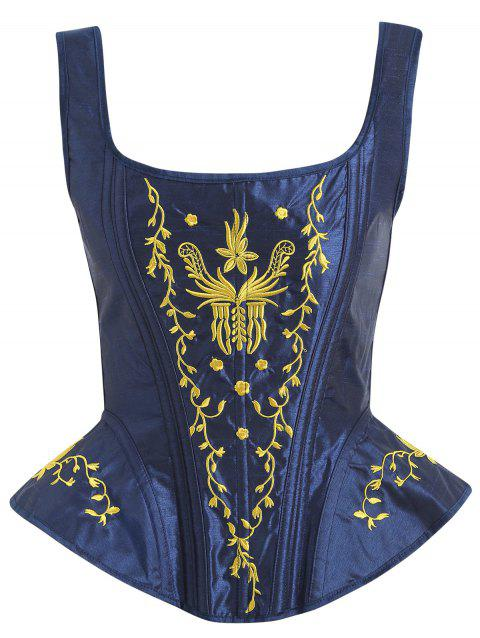 U Neck Embroidery Lace-up Corset - DEEP BLUE 2XL
