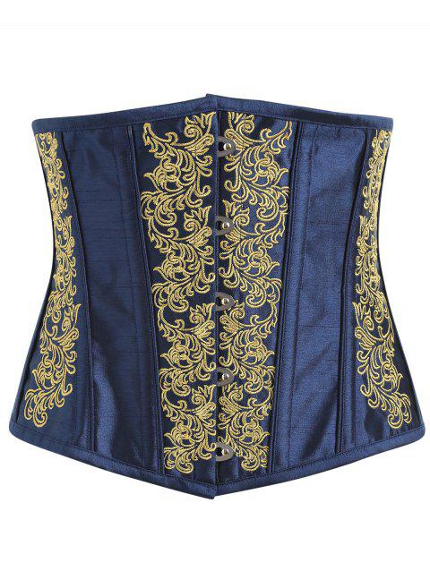 Embroidery Lace-up Steel Boned Corset - YELLOW M