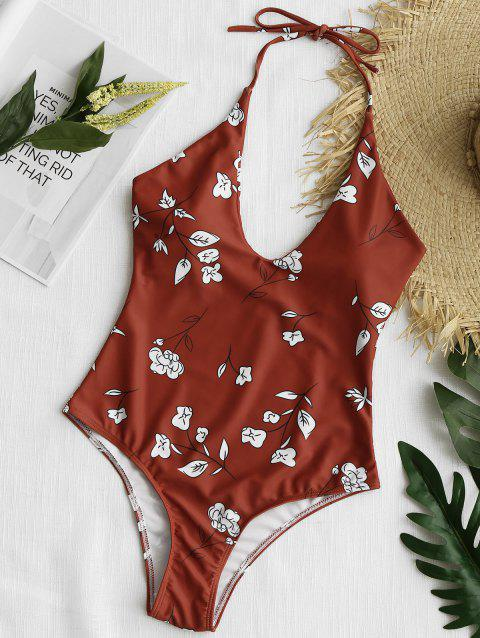 Low Back Floral High Cut Swimsuit - BRICK RED XL