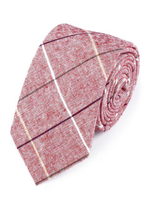 Vintag Plaid Striped Pattern Cotton Neck Tie - PEONY PINK