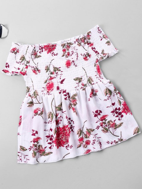 Floral Printed Off The Shoulder Blouse - WHITE M
