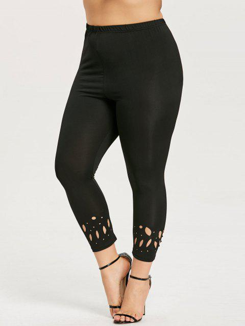 Plus Size Openwork Tight Ninth Length Leggings - BLACK 5XL