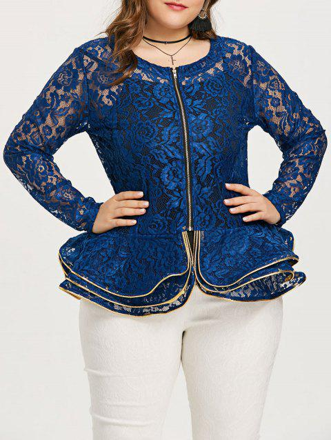 Plus Size See Thru Lace Peplum Jacket - BLUE 5XL