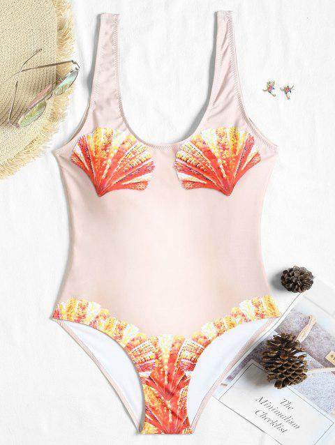 Funny Print Padded Tank One Piece Swimsuit - YELLOWISH PINK M
