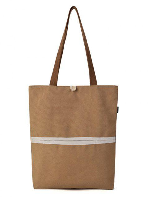 Button Color Block Tote Bag - KHAKI