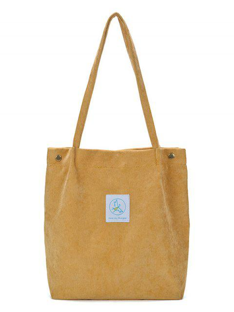 Casual Corduroy Pure Color Tote Bag - YELLOW