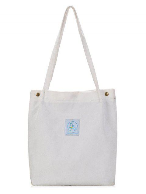 Casual Corduroy Pure Color Tote Bag - OFF WHITE