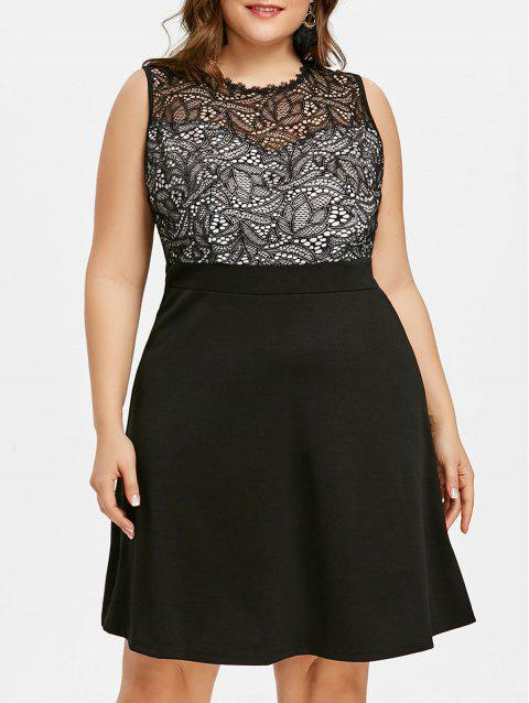 Plus Size Fit and Flare Evening Dress - BLACK 5XL