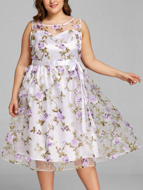 LIMITED OFFER  2019 Plus Size Stereo Floral Sleeveless Tea Length ... fea899ca0