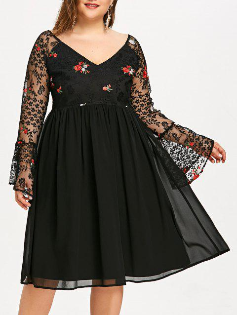 Plus Size Embroidered Bell Sleeve Evening Dress - BLACK XL