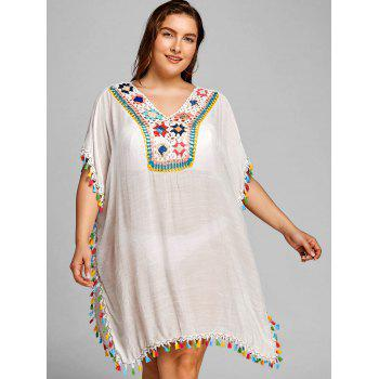 Shift Plus Size Tassel Cover Up Dress - WHITE ONE SIZE