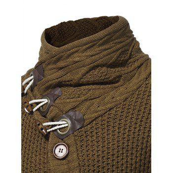 Cowl Neck Single Breasted Horn Button Cardigan - BROWN 2XL