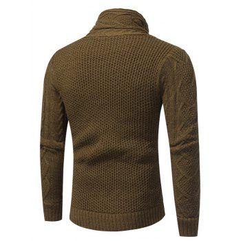 Cowl Neck Single Breasted Horn Button Cardigan - BROWN XL