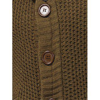 Cowl Neck Single Breasted Horn Button Cardigan - BROWN L