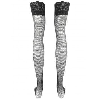 Overknee Lace Insert Sheer Stockings - BLACK ONE SIZE