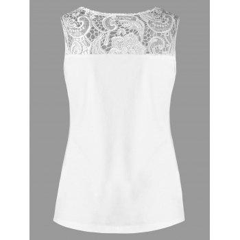 Lace Insert Tank Top - WHITE M