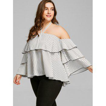 Halterneck Plus Size Layered Top - WHITE 4XL