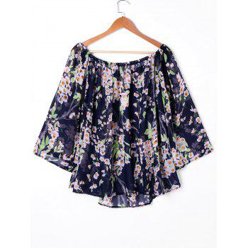 Print Off Shoulder Sheer Chiffon Blouse - PURPLISH BLUE 2XL