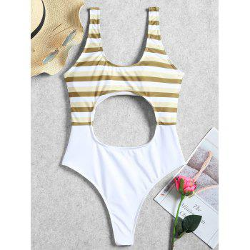 Stripe Cutout Full Piece Swimsuit - YELLOW STRIPES L