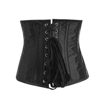 Embroidery Lace-up Steel Boned Corset - PURPLE M