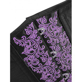 Embroidery Lace-up Steel Boned Corset - PURPLE 2XL