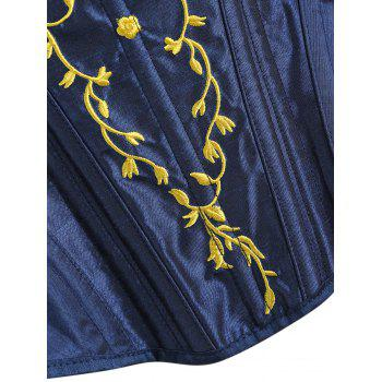 U Neck Embroidery Lace-up Corset - DEEP BLUE M