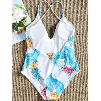 Pineapple Print Low Back One Piece Swimsuit - FLORAL S