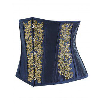 Embroidery Lace-up Steel Boned Corset - YELLOW L