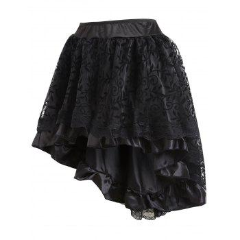 Flounce High Low Lace Trim Cosplay Skirt - BLACK M