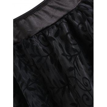 Flounce High Low Lace Trim Cosplay Skirt - BLACK S