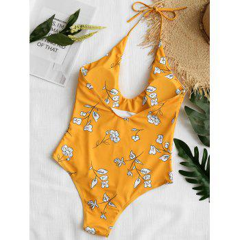Low Back Floral High Cut Swimsuit - MUSTARD S