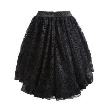 Flounce High Low Lace Trim Cosplay Skirt - BLACK XL