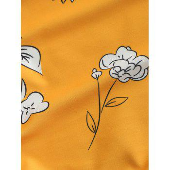 Low Back Floral High Cut Swimsuit - MUSTARD M