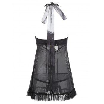 Frill Flyaway Lingerie Camisole Dress - BLACK L