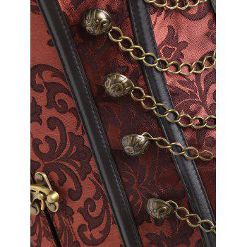 Vintage Brocade Chains Cincher Corset - BROWN S