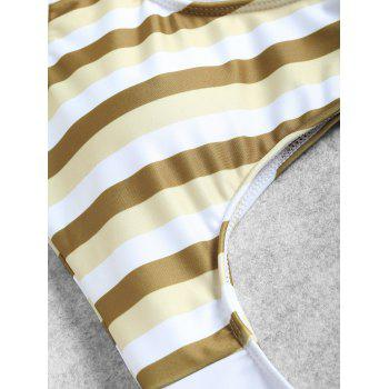 Stripe Cutout Full Piece Swimsuit - YELLOW STRIPES S