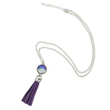 Mermaid Scales Tassel Pendant Necklace - PURPLE